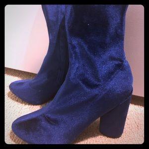 Blue velvet ankle boots - 8.5